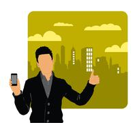 Stock Illustration of Man using smartphone. Vector