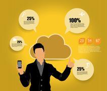 Stock Illustration of Man using smartphone. Vector