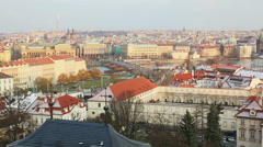 Panoramic View of Prague with Charles Bridge Stock Footage
