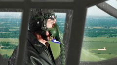 WWII pilot flying recon no effects Stock Footage