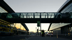 Dublin Airport Terminal At Sunset Time Lapse Stock Footage