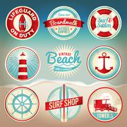 Vintage Beach Labels and Badges Stock Illustration