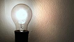 0213 Vintage bulb lighting on a wall Stock Footage
