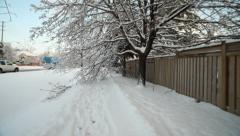 Go along winter sidewalk Stock Footage