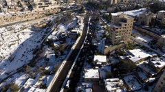 Jerusalem roads in the snow Stock Footage