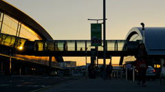 Dublin Airport Terminal At Sunset Time Lapse. 4K. Stock Footage