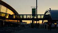 Stock Video Footage of Dublin Airport Terminal At Sunset Time Lapse. 4K.