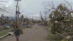 Walking Devastated Streets Of Tacloban After Typhoon Haiyan - stock footage