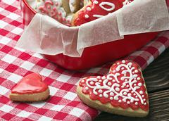 baked hearts for valentine's day - stock photo