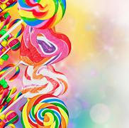 Colorful lollipops and sweets Stock Photos