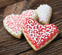 Heart shaped cookies baked valentine's day Stock Photos