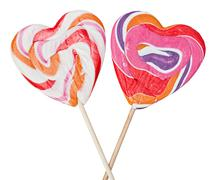 lollipops on sticks in the form of heart - stock photo