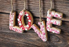 Word love made of cookies valentine's day Stock Photos
