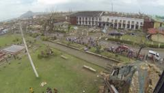 Helicopter Take Off From Storm Ravaged City Typhoon Haiyan Stock Footage