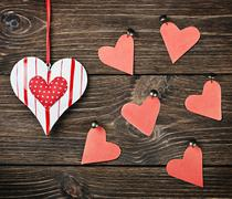 Decorative hearts toys Stock Photos