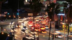 Night traffic in Hollywood, timelapse. Stock Footage