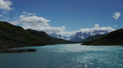 Gray river with the Torres Del Paine Stock Footage