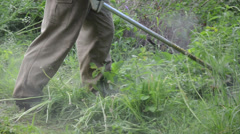 Turn view of gardener cut high grass with trimmer cutter tool Stock Footage