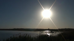 Upsun above the river Stock Footage