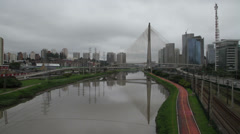 Cable-stayed Bridge (Ponte Estaiada) - Rain IV Stock Footage