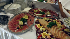 Food served on the table - a.k.a. swedish table Stock Footage