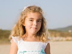 portrait of six years girl - stock photo