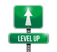 level up road sign illustration design over a white background - stock illustration