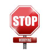 stop worrying road sign illustration design over a white background - stock illustration
