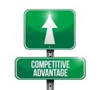 Stock Illustration of competitive advantage road sign illustration design over a white background
