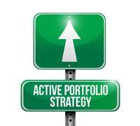 Active portfolio strategy road sign illustration design over white Stock Illustration
