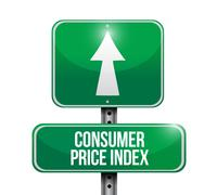 Stock Illustration of consumer price index road sign illustration design over white