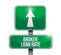 Stock Illustration of broker loan rate road sign illustrations design over white