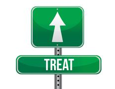 Treat road sign illustration design Stock Illustration