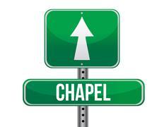 chapel road sign - stock illustration