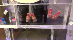 Ice store, shop made of ice, frozen goods in ice blocks, ice carving Stock Footage