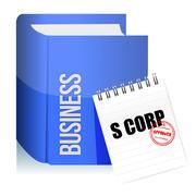 Approved stamp on a s corporation legal document illustration design over whi Stock Illustration