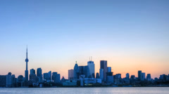 A timelapse view of the Toronto skyline at night Stock Footage