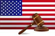 Stock Illustration of us flag and gavel illustration design over a white background