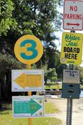 Water taxi entrance signs Stock Photos