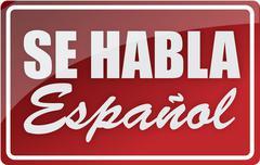 We speak spanish sign illustration design over white Stock Illustration