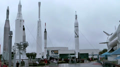 Stock Video Footage of USA Cape Canaveral 001 some historical Rockets against gray Sky