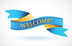 Welcome blue waving ribbon banner illustration design over white Stock Illustration