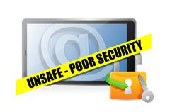 Unsafe poor security technology concept illustration design over white Stock Illustration