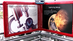 USA Cape Canaveral 020 Pan from Signs to the rear Side of Space Shuttle Explorer - stock footage
