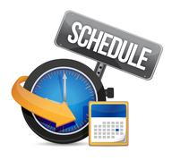 Schedule icon with clock illustration design over a white background Stock Illustration