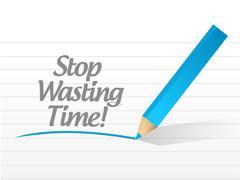 Stop wasting time message illustration design over white Stock Illustration