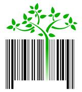 Bar code with green sprouts growing illustration design over white Stock Illustration