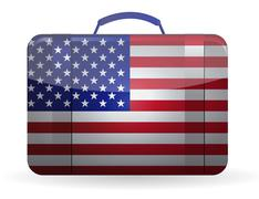 Stock Illustration of american flag on a suitcase for travel illustration design