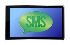 Stock Illustration of tablet receiving an sms illustration design over white
