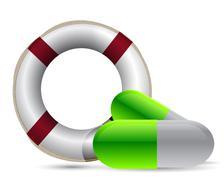 Sos lifesaver pills illustration design over white Stock Illustration